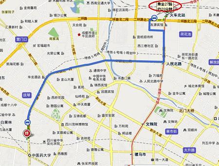 成都火车北站到四川省生殖专科医院的路线图